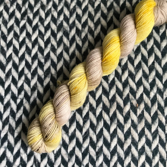 Bananas Foster -- mini-skein -- Times Square sock yarn -- ready to ship
