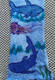 SHARK WEEK -- hand-painted sock blank -- dyed to order yarn