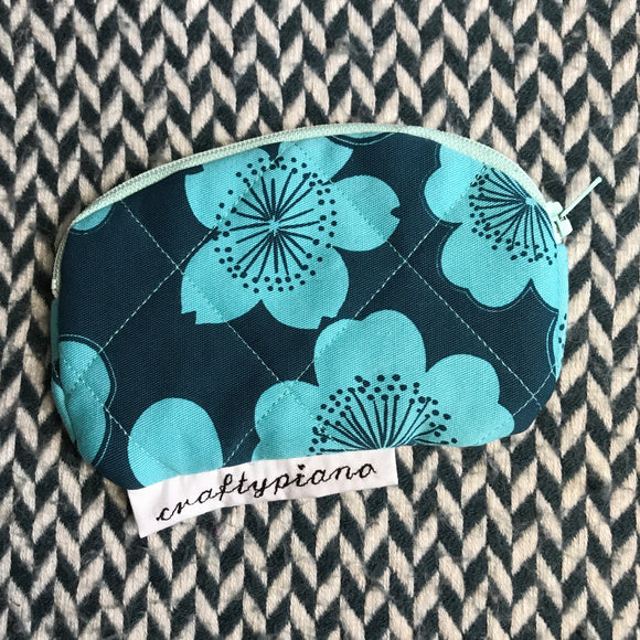 HAPPY FLOWERS -- small notion pouch with zipper -- ready to ship