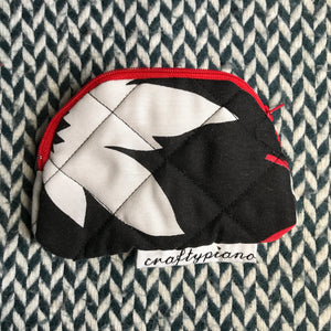 BLACK AND WHITE AND RED ALL OVER -- small notion pouch with zipper -- ready to ship