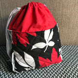 BLACK AND WHITE AND RED ALL OVER -- project bag -- ready to ship