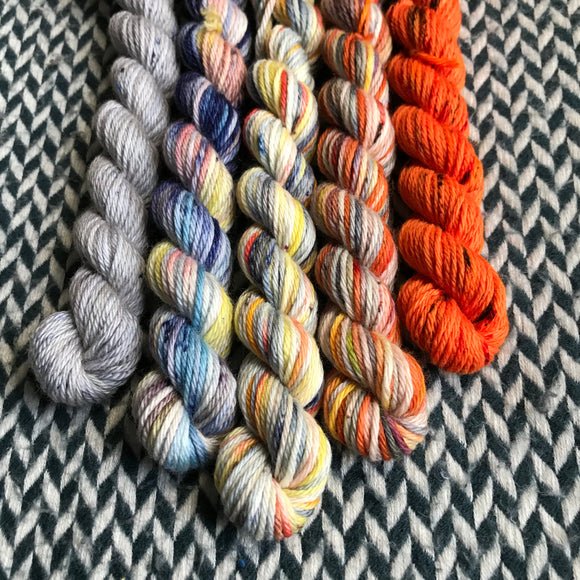 Autumn in New York *5 Mini-Skein Set* -- Brooklyn Bridge worsted weight yarn -- ready to ship