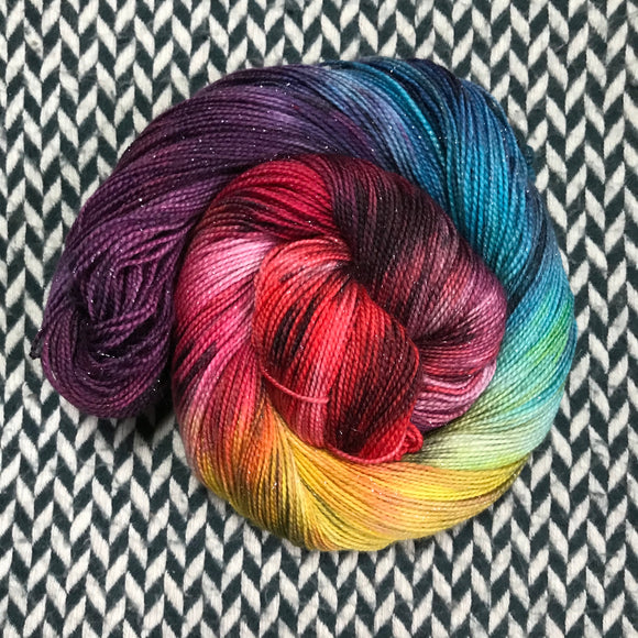DUSK RAINBOW -- Broadway sparkle sock yarn -- ready to ship