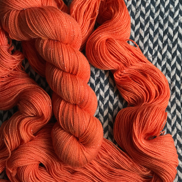 CANARY ORANGE -- Times Square merino/nylon sock yarn -- ready to ship