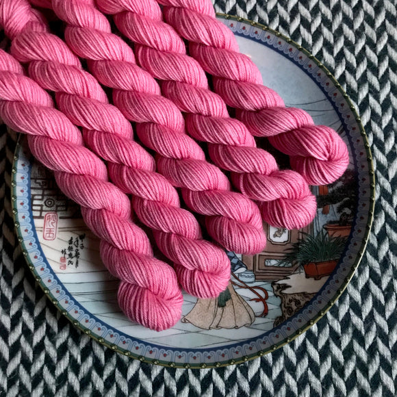 Pink Ions -- mini-skein -- Times Square sock yarn -- ready to ship