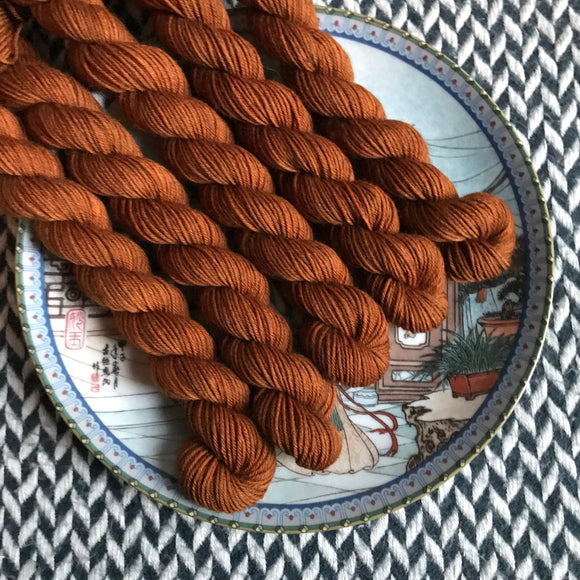 Gingerbread -- mini-skeins -- Times Square sock yarn-- ready to ship