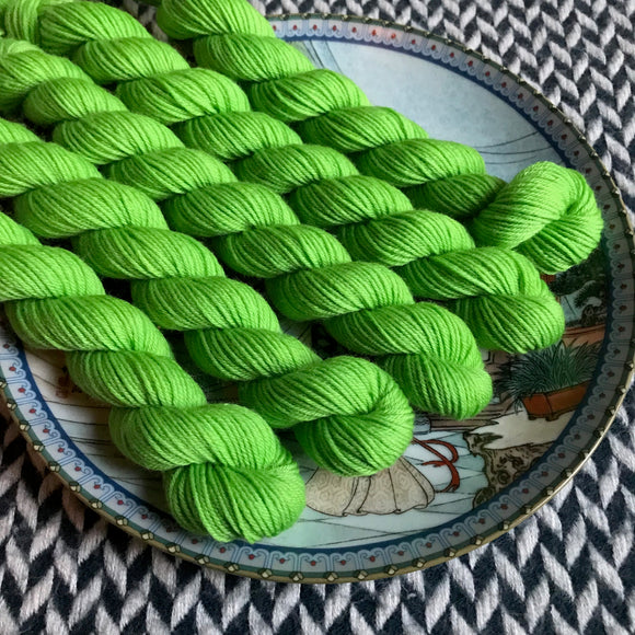 Lime Squeeze -- mini-skein -- Times Square sock yarn-- ready to ship