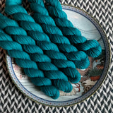 Teal Owl -- mini-skeins -- Times Square sock yarn-- ready to ship