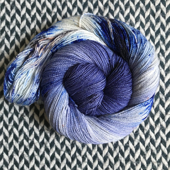 ACID WASH JEANS -- Broadway sparkle sock yarn -- ready to ship