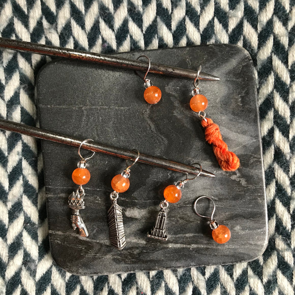 Punkin Chunkin -- *6 Stitch Marker Set* -- ready to ship