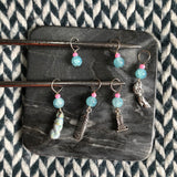 Ocean of Your Butterflies -- *6 Stitch Marker Set* -- ready to ship