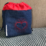 EMBROIDERED HEART -- project bag -- ready to ship