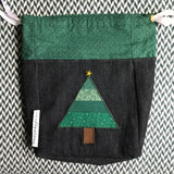 CHRISTMAS TREES BLACK -- project bag -- ready to ship