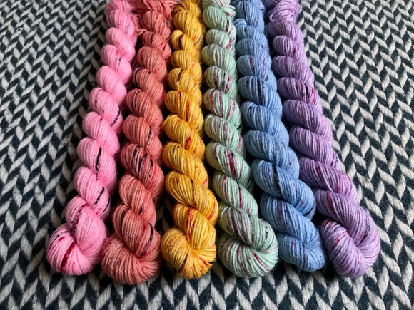 I <3 NY T-Shirt Collection *6 Mini-Skein Set* -- Broadway silver sparkle sock yarn -- ready to ship