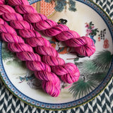 I'm a Barbie Girl -- mini-skeins -- Broadway silver sparkle sock yarn-- ready to ship