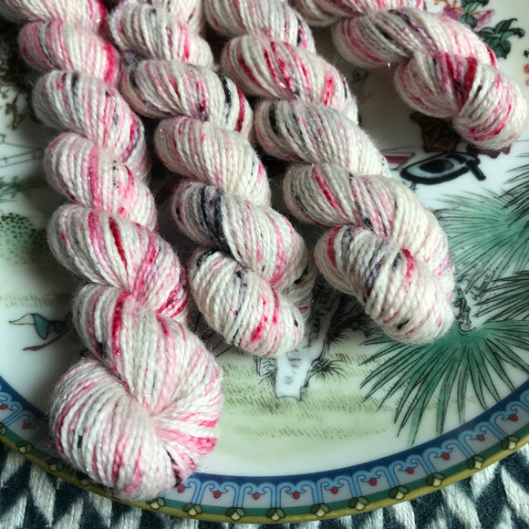 I <3 ny -- mini-skeins -- Broadway silver sparkle sock yarn-- ready to ship