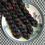 Kung Hey Fat Choy -- mini-skeins -- Broadway silver sparkle sock yarn-- ready to ship