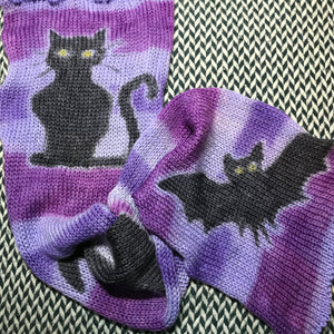 CAT HAT BAT -- hand-painted sock blank -- dyed to order