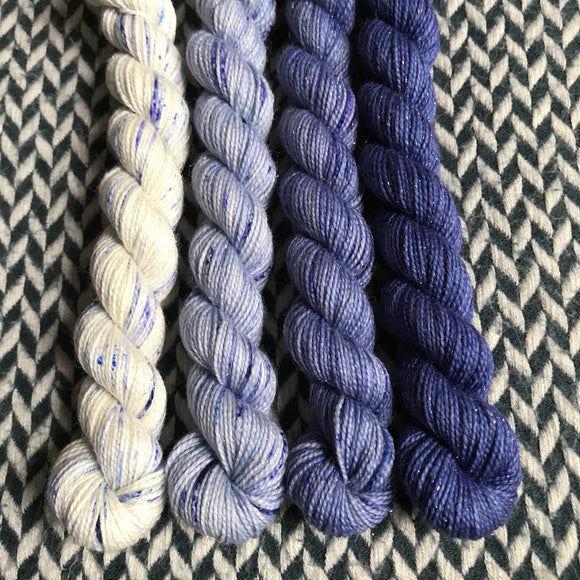Faded Jeans Set *4 Mini-Skein Set* -- Broadway sparkle sock yarn -- ready to ship