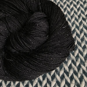 BLACKBIRD -- Broadway silver sparkle sock yarn -- ready to ship