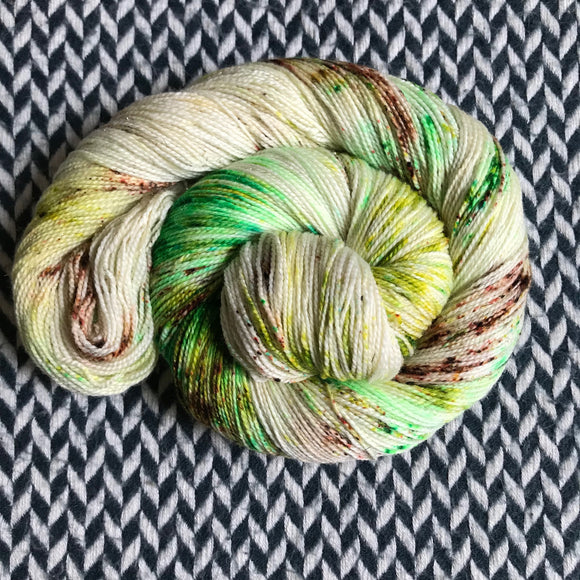 COCONUT LIME-- Broadway sparkle sock yarn -- ready to ship