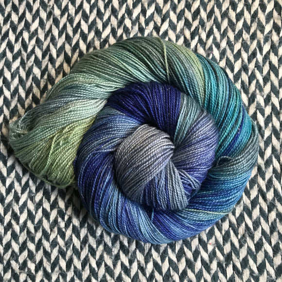 JUMPING WAVES -- Broadway sparkle sock yarn -- ready to ship