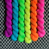 Highlighter Pack *6 Mini-Skein Set* -- Broadway sparkle sock yarn -- ready to ship