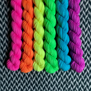 Highlighter Pack *6 Mini-Skein Set* -- Times Square sock yarn -- ready to ship