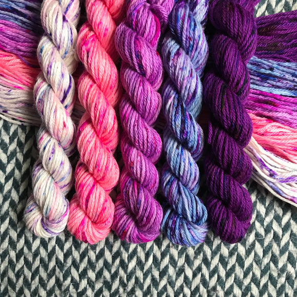 Unicorn Grunge Band *5 Mini-Skein Set* -- Brooklyn Bridge worsted yarn -- ready to ship