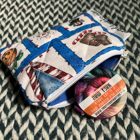 JOY -- small notion pouch with zipper -- ready to ship