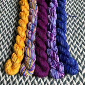 Moonwake *5 Mini-Skein Set* -- Times Square sock yarn -- ready to ship
