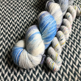 I BELIEVE YOU with Grey * Broadway Sparkle Sock Set * -- full-size skein with mini-skein -- ready to ship yarn