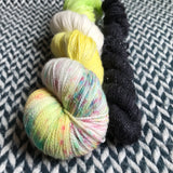 DANCING BY MYSELF with Blackbird * Broadway Sparkle Sock Set * -- full-size skein with mini-skein -- ready to ship yarn