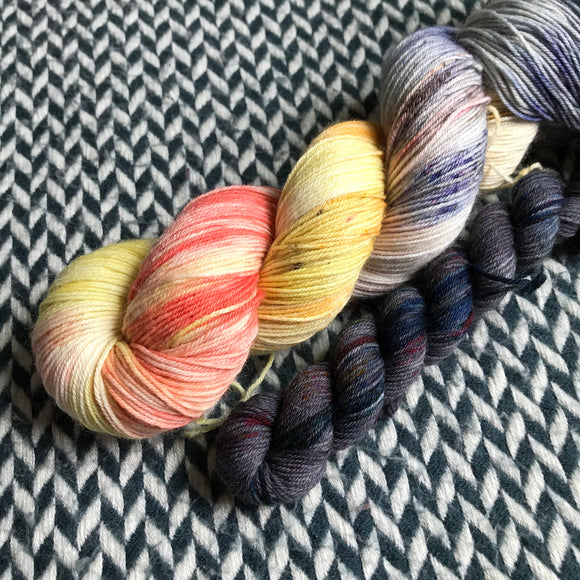 TAXIS IN THE RAIN with Grey * Times Square Sock Set * -- full-size skein with mini-skein -- ready to ship yarn