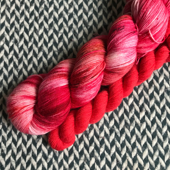 FIELD OF ROSES with Red * Times Square Sock Set * -- full-size skein with mini-skein -- ready to ship yarn