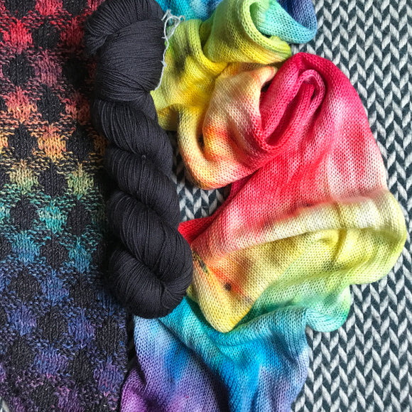 DUSK RAINBOW for Breaking Plaid Cowl -- hand-painted single-strand rainbow sock blank and Blackbird -- ready to ship yarn