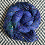 DON'T PANIC, PEACOCK -- Alphabet City tweed sock yarn -- ready to ship
