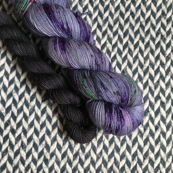 NIGHT LIFE with Black * Nolita Sock Set * -- full-size skein plus mini-skein -- ready to ship yarn