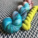 RED-HEADED STEP-MERMAID with Chartreuse * Times Square Sock Set * -- full-size skein with mini-skein -- ready to ship yarn