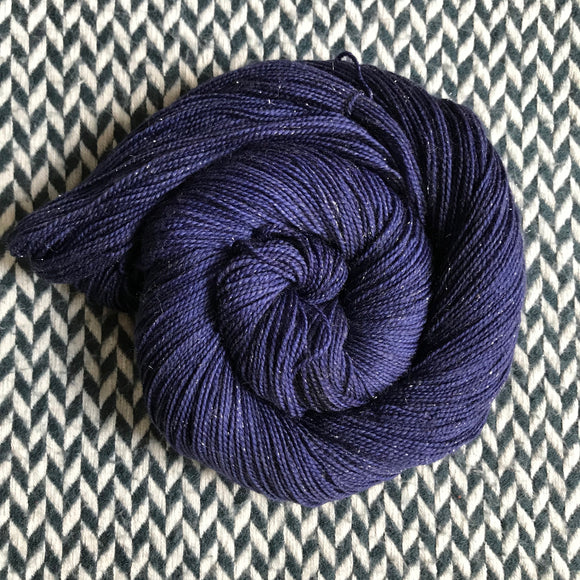 NAVY STORM -- Broadway sparkle sock yarn -- ready to ship