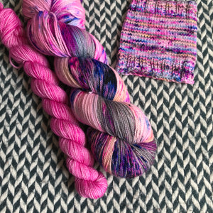 SUMMER IN THE CITY with Pink * Harlem Sock Set * -- full-size skein plus mini-skein -- ready to ship yarn