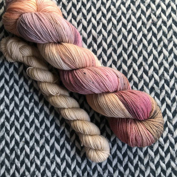 SUMMER'S END with Beige * Times Square Sock Set * -- full-size skein with mini-skein -- ready to ship yarn
