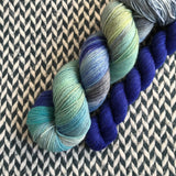 JUMPING WAVES with Blue * Times Square Sock Set * -- full-size skein with mini-skein -- ready to ship yarn