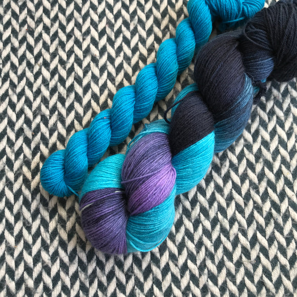 FLUX SHIFT with Blue * Times Square Sock Set * -- full-size skein with mini-skein -- ready to ship yarn
