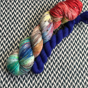 STEAMPUNK MEDUSA with Blue * Alphabet City Tweed Sock Set * -- full-size skein with mini-skein -- ready to ship yarn
