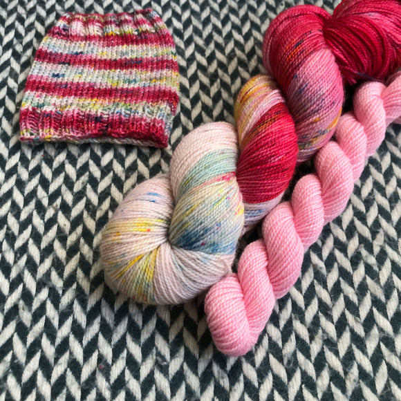 RED VELVET MILKSHAKE with Pink * Harlem Sock Set * -- full-size skein plus mini-skein -- ready to ship yarn