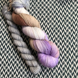 SHELL WE DANCE? with Grey * Harlem Sock Set * -- full-size skein plus mini-skein -- ready to ship yarn