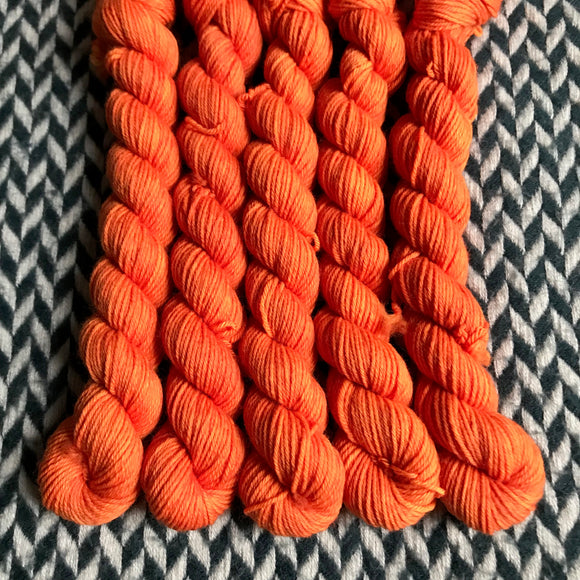 In Living Coral -- mini-skeins -- Times Square sock yarn-- ready to ship