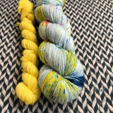 OCEAN OF YOUR BUTTERFLIES with Peep * Broadway Sparkle Sock Set * -- full-size skein with mini-skein -- ready to ship yarn