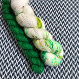 COCONUT LIME with Green * Broadway Sparkle Sock Set * -- full-size skein with mini-skein -- ready to ship yarn